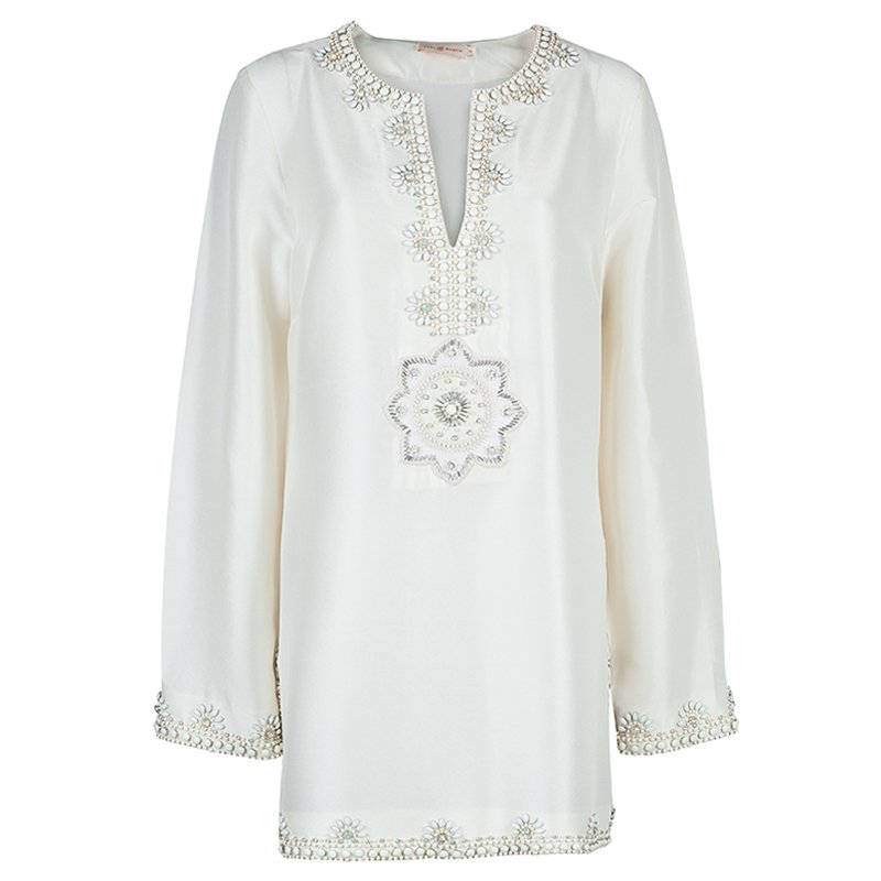 055240ad1675 Buy Tory Burch Cream Raw Silk Embellished Long Sleeve Tunic Blouse L ...