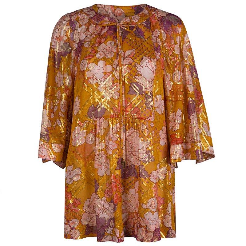da198c5cf0de Buy Tory Burch Multicolor Floral Print Lurex Detail Long Sleeve ...