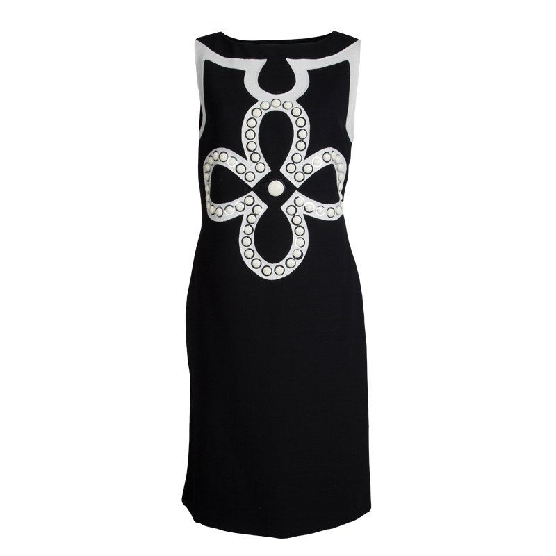 Tory Burch Monochrome Embellished Sleeveless Knit Dress M