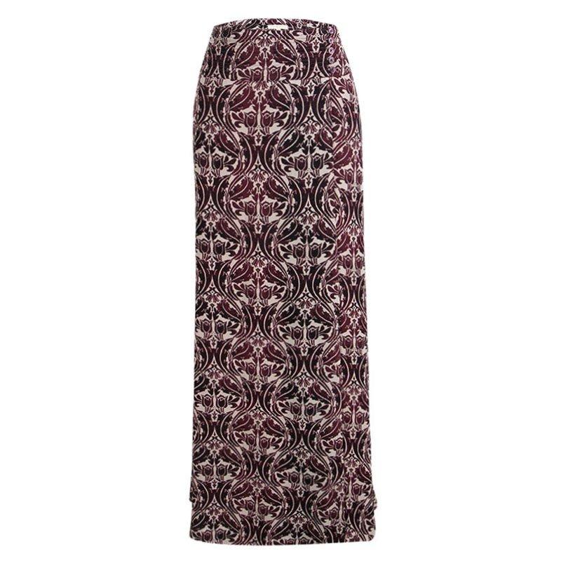 345248c244ad ... Tory Burch Burgundy Floral Printed Silk Maxi Skirt L. nextprev. prevnext