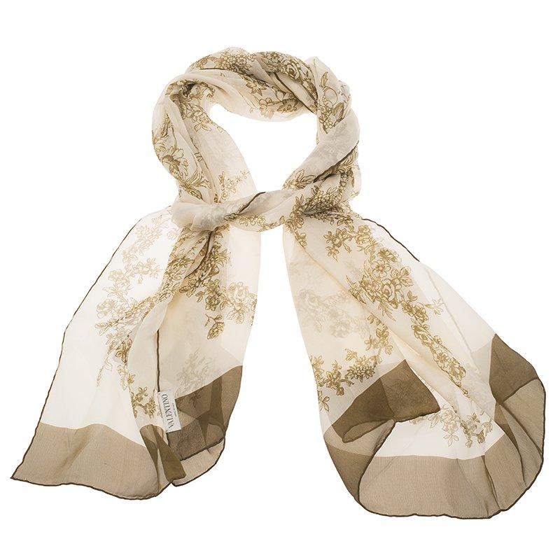 Valentino Cream and Green Floral Print Silk Stole