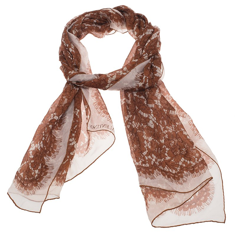 Valentino White and Brown Floral Lace Print Silk Stole