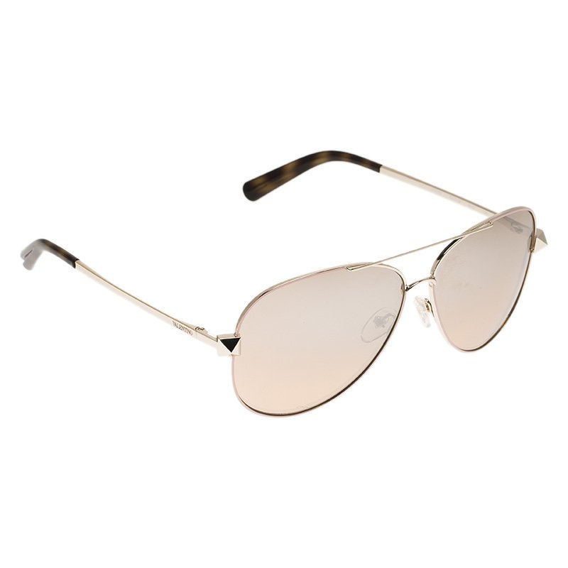 Valentino Rose Gold and Tortoise V117S Rockstud Aviator Sunglasses