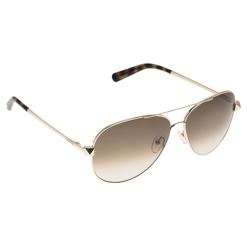 Valentino Gold and Tortoise V117S Rockstud Aviator Sunglasses