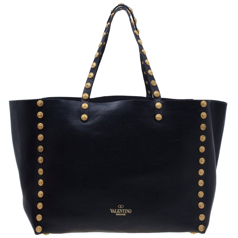 Valentino Black Leather Gryphon Zodiac Tote