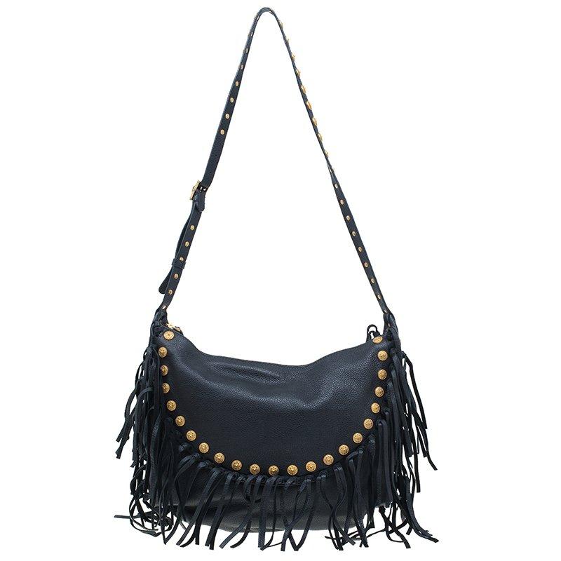 128afb17b175 Buy Valentino Black Leather C Rockee Studded Fringe Hobo Bag 42216 ...