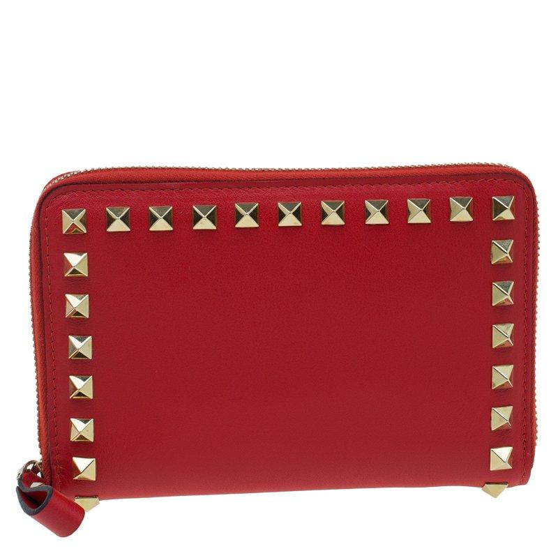 10a6409d156 ... Valentino Red Leather Medium Rockstud Zip Around Wallet. nextprev.  prevnext