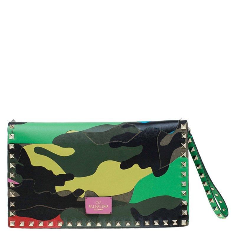 e333719393 Buy Valentino Multicolor Leather Camouflage Rockstud Wristlet Clutch ...
