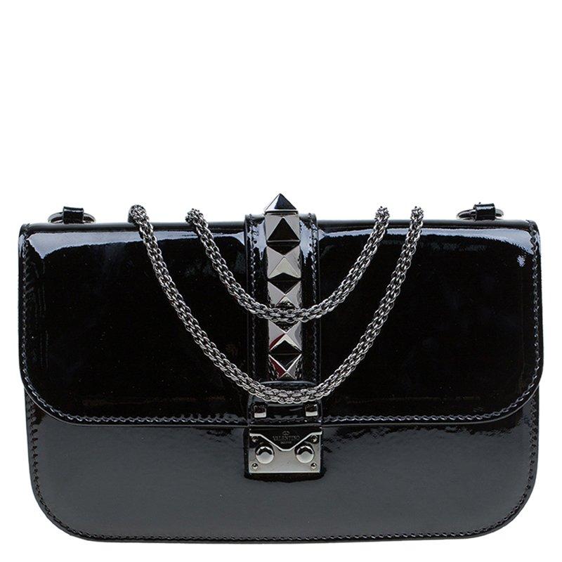 Buy Valentino Black Patent Leather Rockstud Medium Glam Lock Flap Bag 80534  at best price  a66599030f603