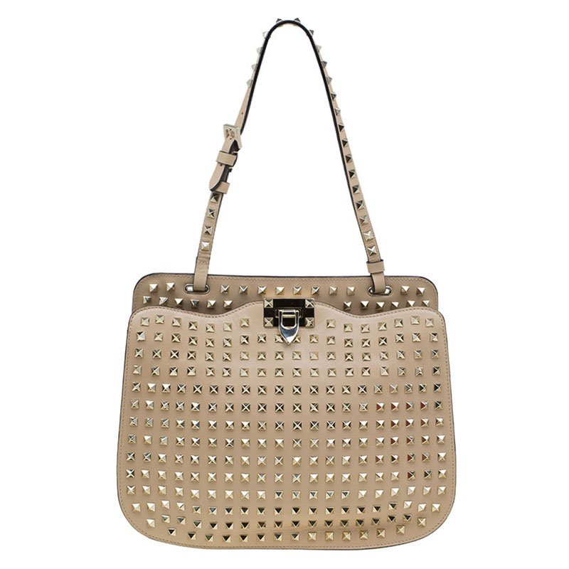 9595c291943d3 ... Valentino Beige Leather Full Studded Rockstud Shoulder Bag. nextprev.  prevnext