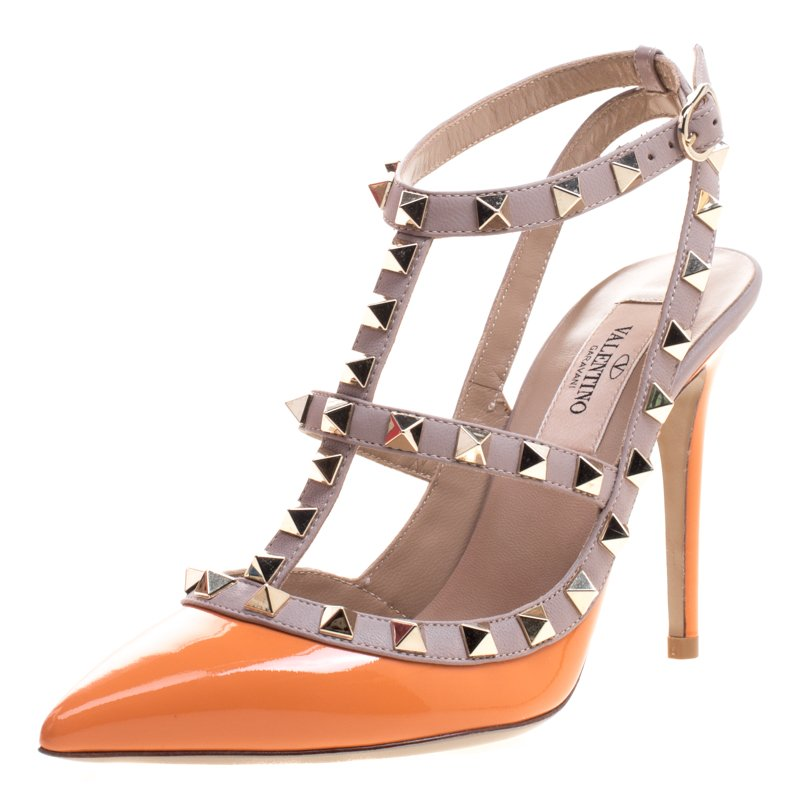 Valentino Beige and Orange Patent Leather Rockstud Sandals Size 35
