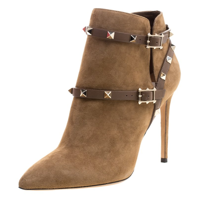 Valentino Brown Suede Rockstud Pointed Toe Ankle Boots Size 40