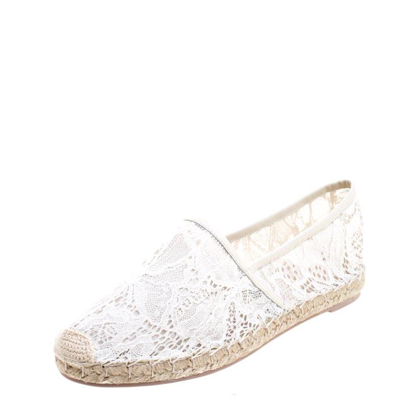 Valentino White Lace Espadrilles Size