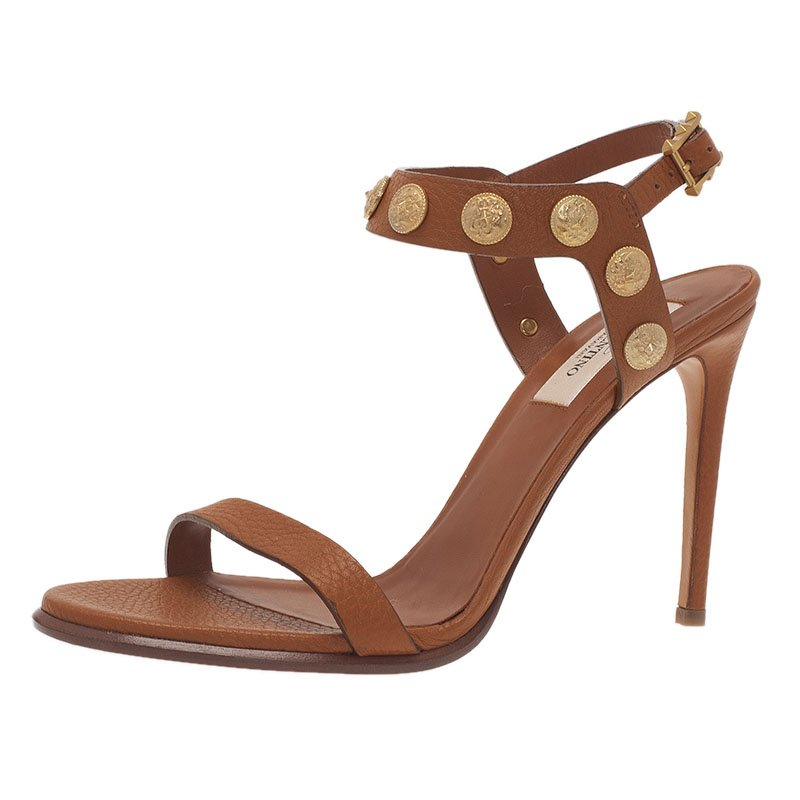 b5c0c3123 ... Valentino Brown Gryphon Coin Studded Leather Ankle Strap Sandals Size  38.5. nextprev. prevnext