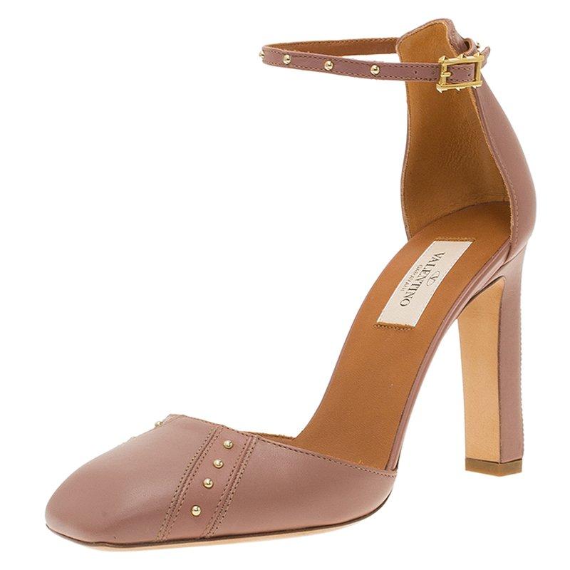 bcb01772a ... Valentino Brown Studded Leather Ankle Strap Pumps Size 37.5. nextprev.  prevnext