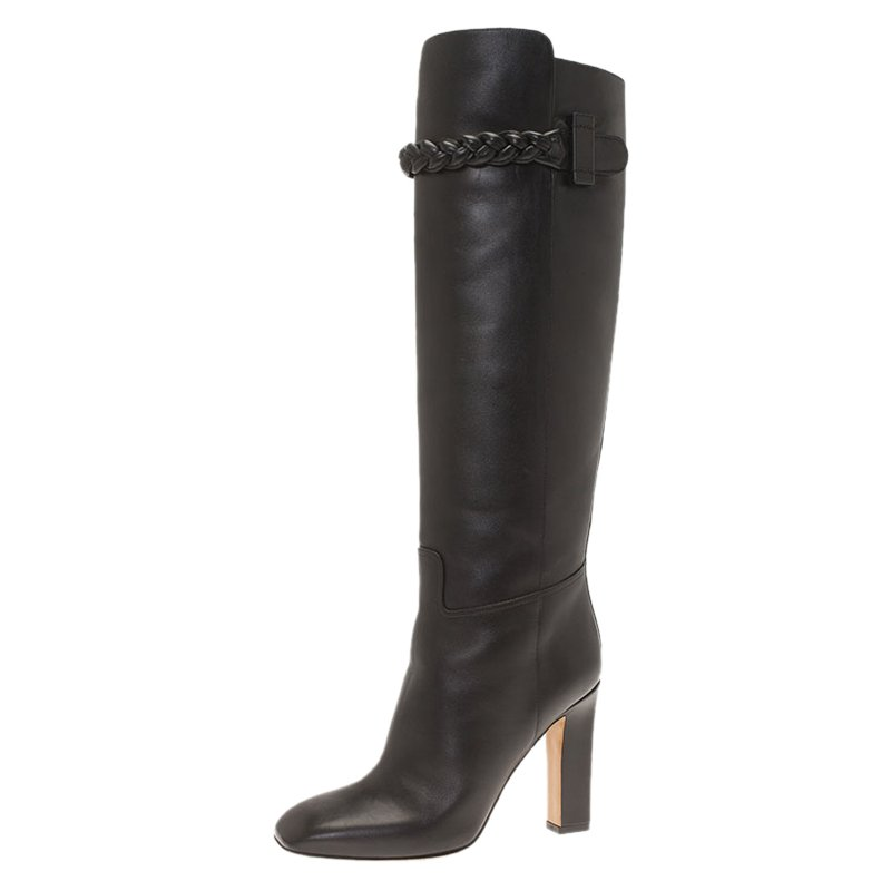 Valentino Black Leather Braided Over the Knee Boots Size 38.5
