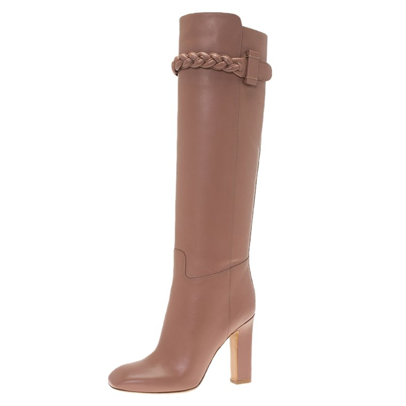 Valentino Blush Pink Leather Braided Over the Knee Boots Size 36.5