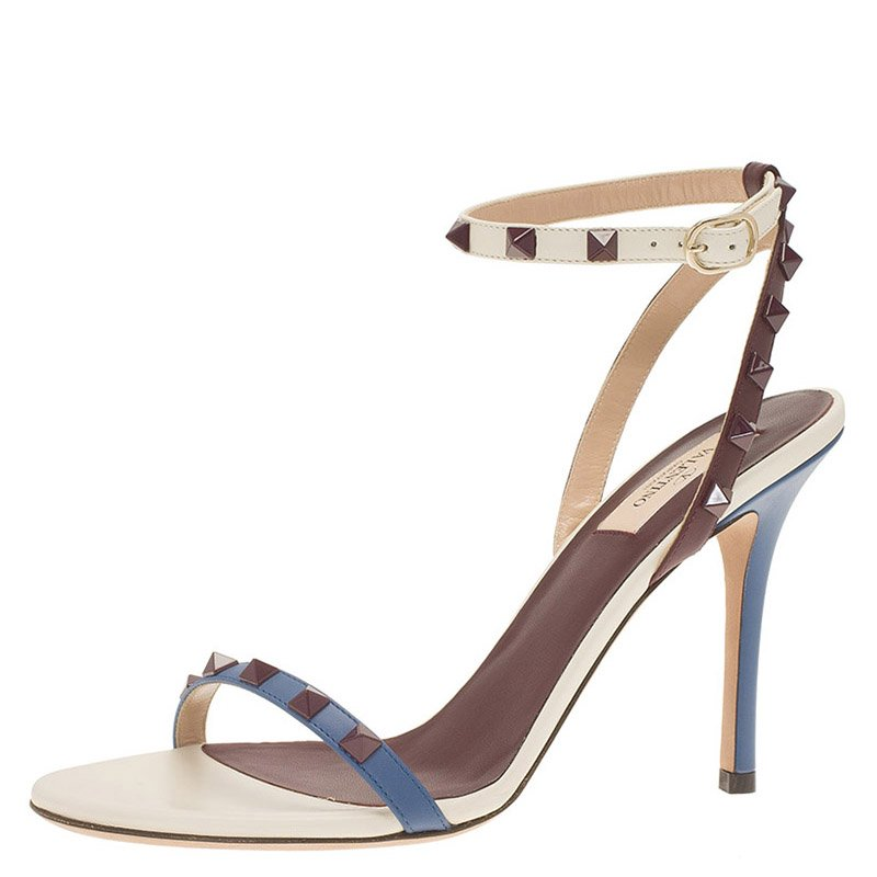 Valentino Tri Color Leather Rockstud Ankle Strap Sandals Size 39.5