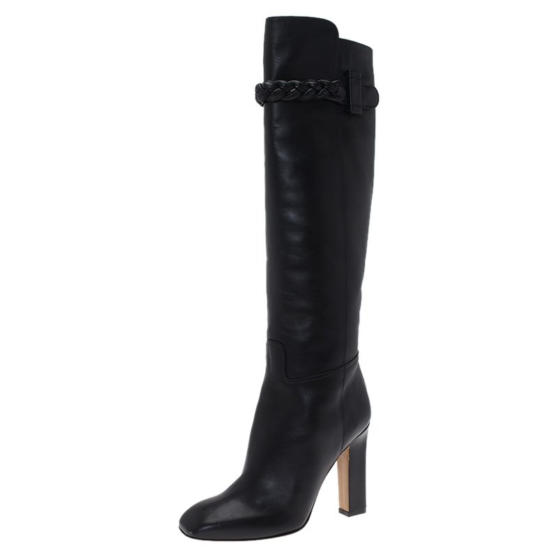 Valentino Black Leather Braided Strap Over the Knee Boots Size 38.5