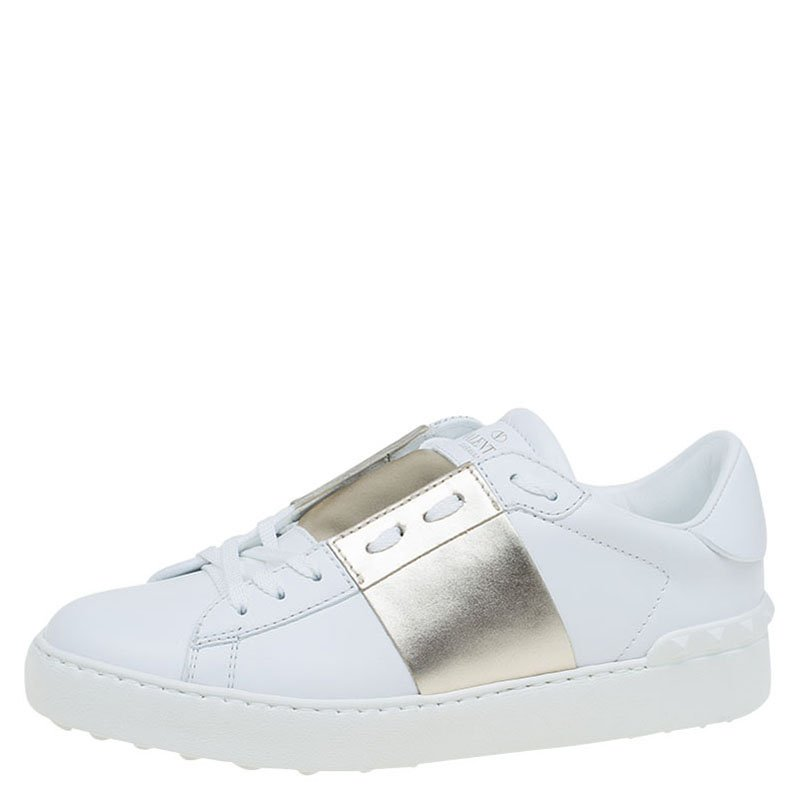 d455b044b37e Buy Valentino White and Gold Band Leather Open Low Top Sneakers Size ...