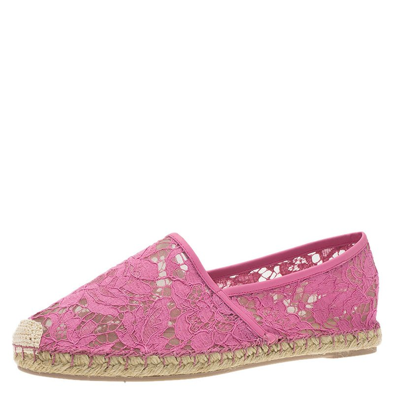 Valentino Pink Leather and Lace Espadrilles Size 41