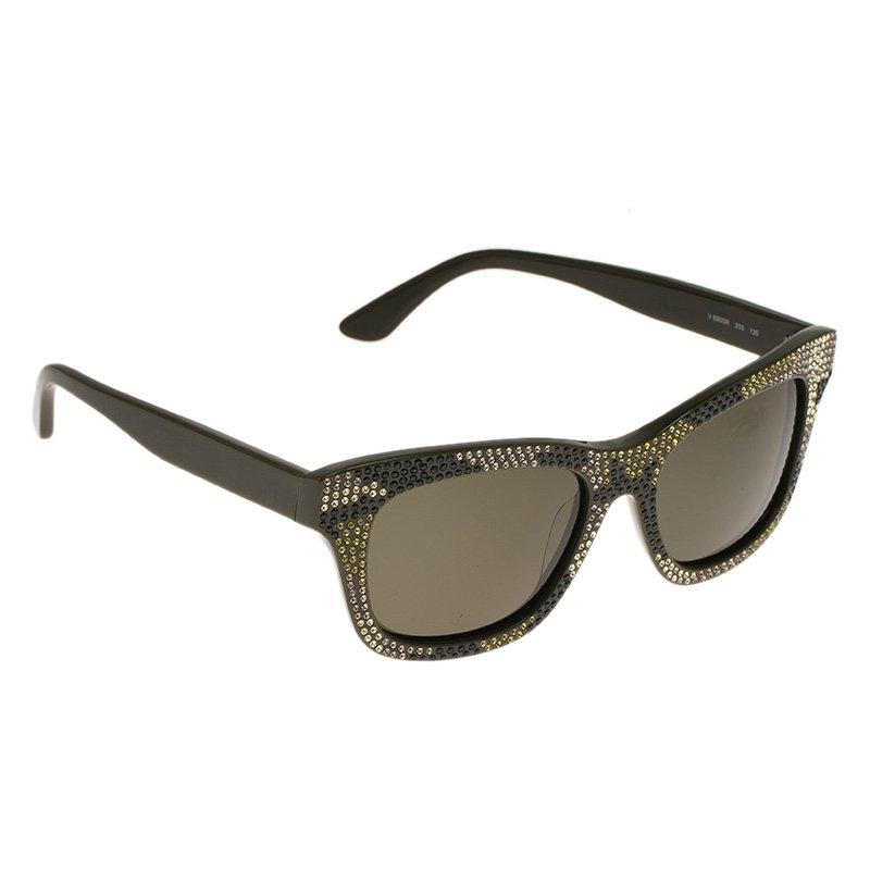 Valentino Green V690SR Rhinestone Embellished Wayfarer Sunglasses