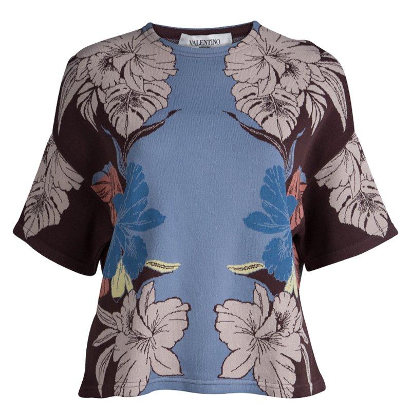 Valentino Floral Crewneck Knit Top M