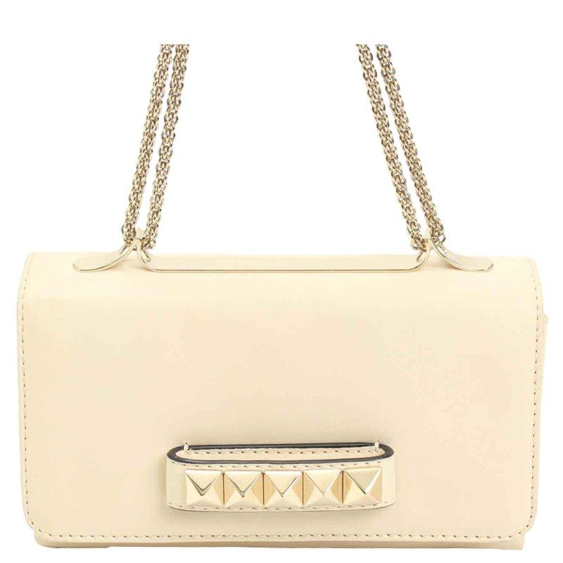 Valentino Cream Leather Va Va Voom Chain Shoulder Bag