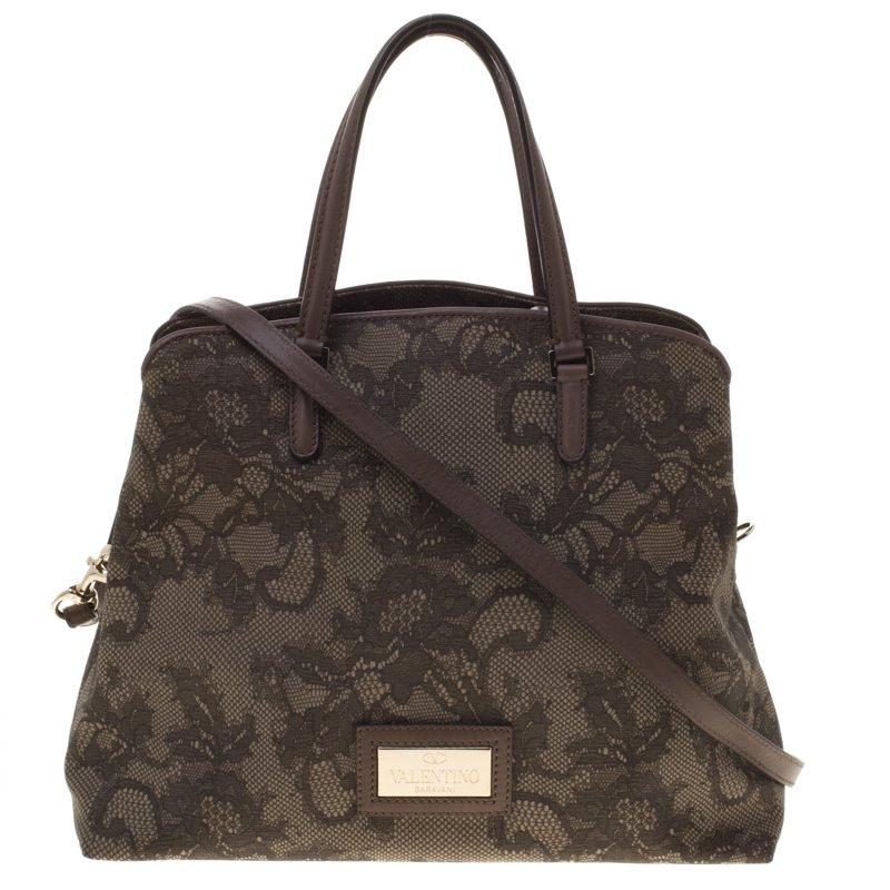Valentino Beige Lace Print PVC Shoulder Bag