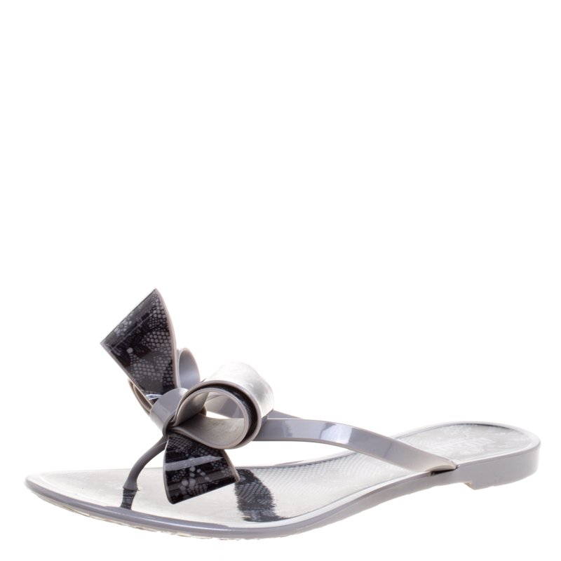 c04460f6d ... Valentino Grey Lace Jelly Thong Flip Flops Size 38. nextprev. prevnext