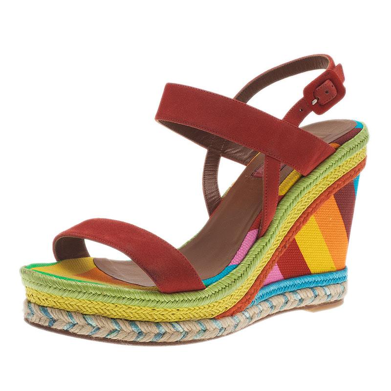 0b4123876fb ... Valentino Multicolor Canvas Suede Wedge Sandals Size 36.5. nextprev.  prevnext