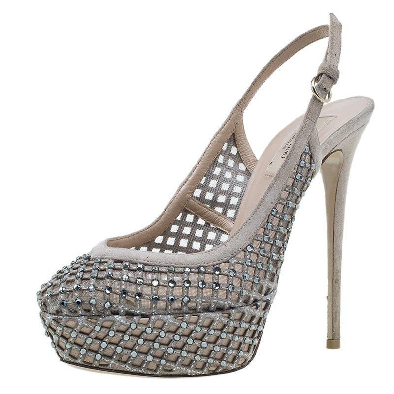 9789929fe4b5 Buy Valentino Beige Lattice Crystals Studded Slingback Platform ...