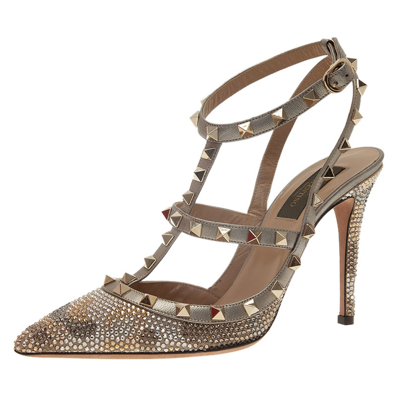 b8d9e70a9ac Buy Valentino Grey Camo Crystal Coated Rockstud Sandals Size 39 ...