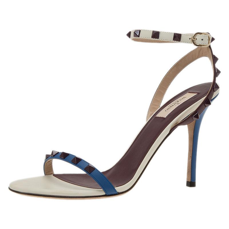 5700b9375452 ... Valentino Tri Color Leather Rockstud Ankle Strap Sandals Size 40.5.  nextprev. prevnext