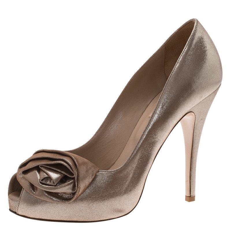 ce4bc9fc5fae3 ... Valentino Gold Metallic Leather Rosette Peep Toe Platform Pumps Size  37. nextprev. prevnext