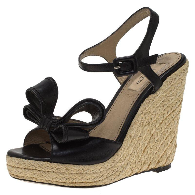 0bb6805eaad ... Valentino Black Leather Bow Espadrille Wedge Sandals Size 36. nextprev.  prevnext