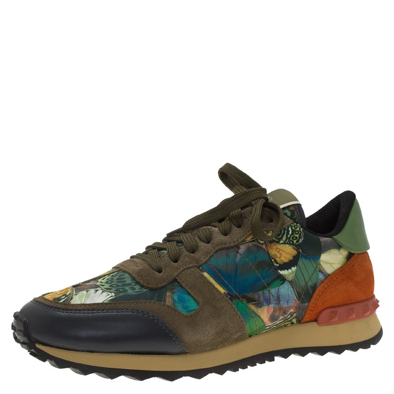 856a32a9c4549 Buy Valentino Multicolor Camo Butterfly Printed Rockrunner Sneakers ...