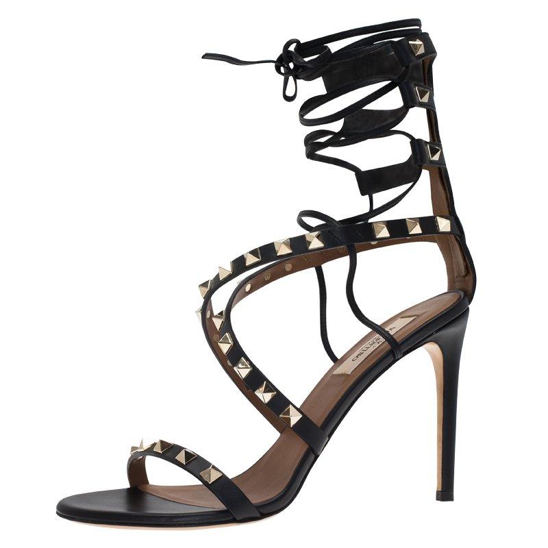 0131cc07730 ... Valentino Black Leather Rockstud Lace Up Gladiator Sandals Size 37.  nextprev. prevnext