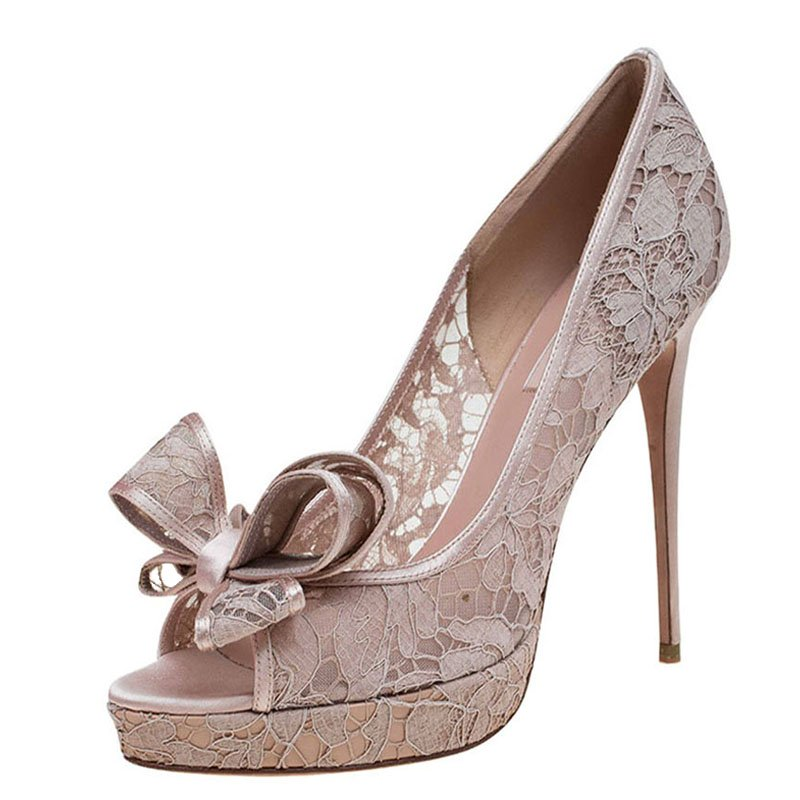 d977a221461 Buy Valentino Beige Floral Lace Couture Bow Peep Toe Platform Pumps ...