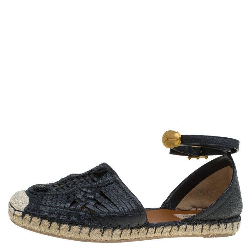 d8bbd098f94fb ... Valentino Black Woven Leather Ethno Ankle Strap Espadrilles Size 40.  nextprev. prevnext