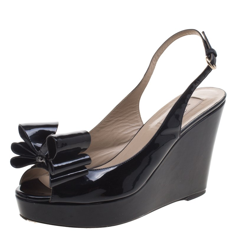 322f0c9da009b ... Valentino Black Patent Leather Versailles Bow Slingback Wedge Sandals Size  39. nextprev. prevnext