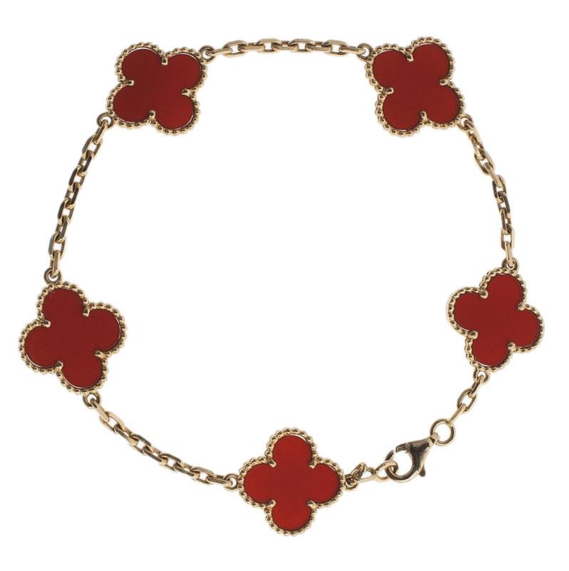 c67c4d4f895e99 ... Van Cleef & Arpels Vintage Alhambra 5 Motifs Red Carnelian Yellow Gold  Bracelet. nextprev. prevnext