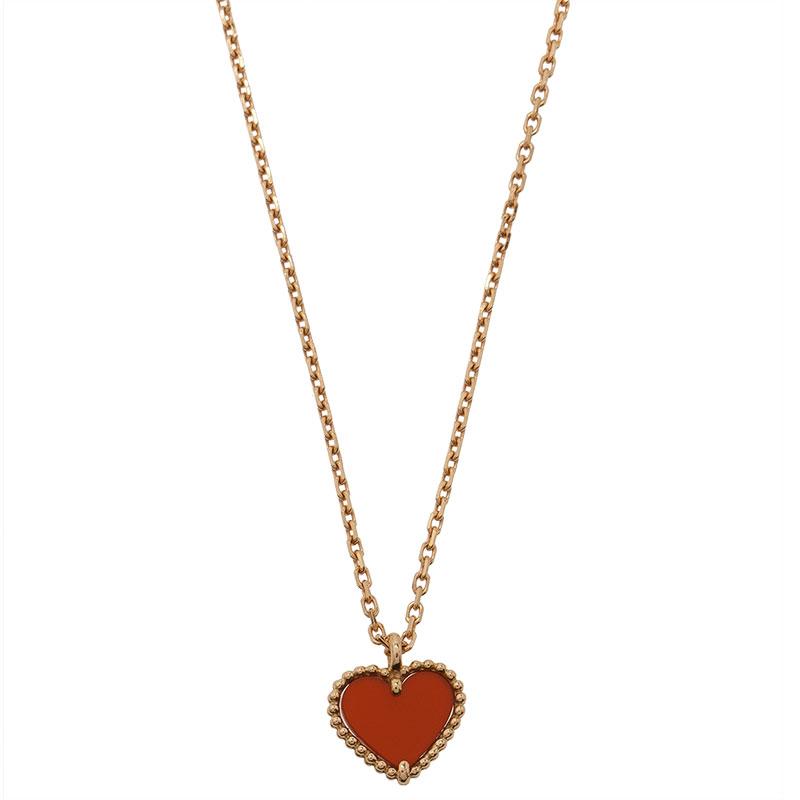 327a62add3eaf Van Cleef & Arpels Sweet Alhambra Heart Red Carnelian Rose Gold Pendant  Necklace