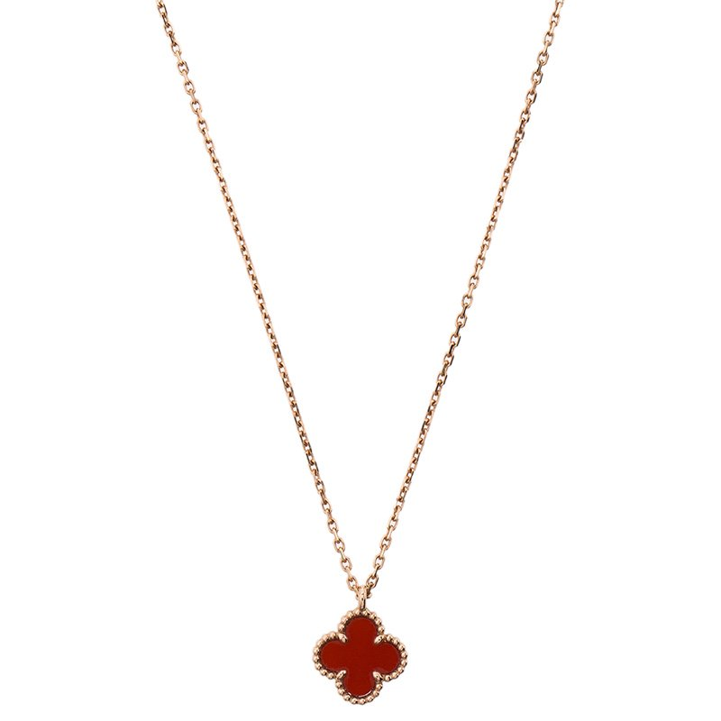 c82960d3c ... Van Cleef & Arpels Sweet Alhambra Clover Red Carnelian Rose Gold  Pendant Necklace. nextprev. prevnext