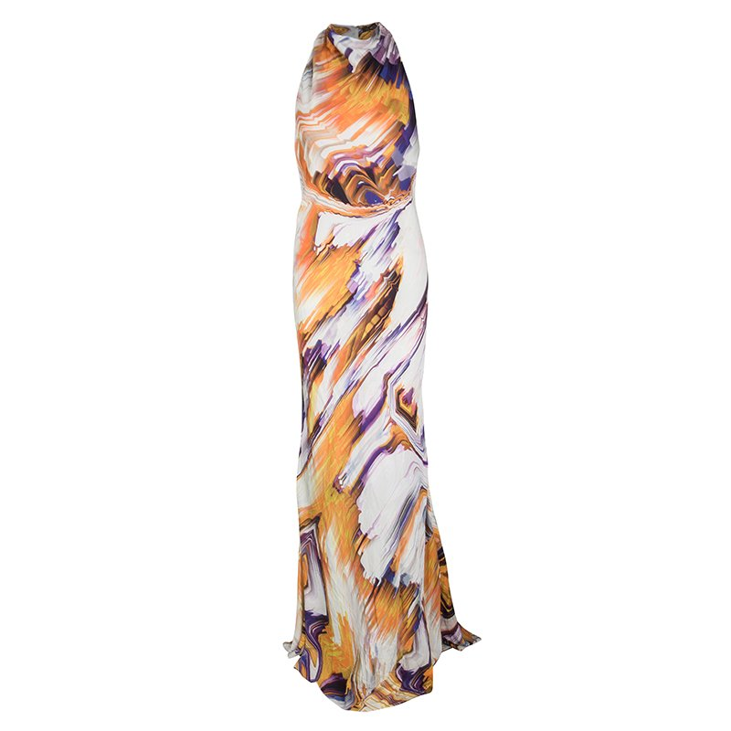 Vera Wang Multicolor Printed Silk Sleeveless Cowl Neck Gown M