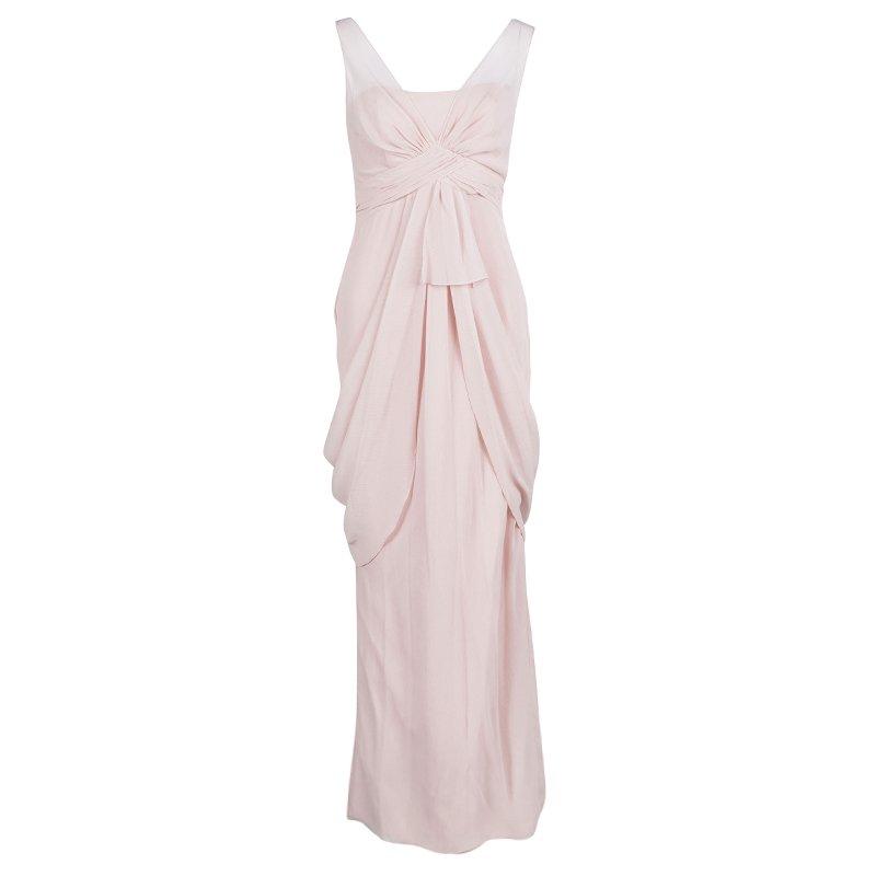 96af1199e20e ... Vera Wang Pale Pink Crinkled Chiffon Draped Maxi Dress XS. nextprev.  prevnext