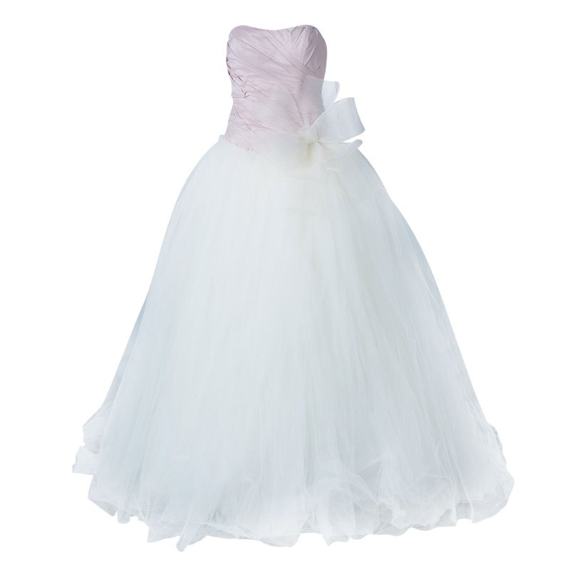White by Vera Wang Pink White Pleated Bustier Draped Tulle Wedding Gown S