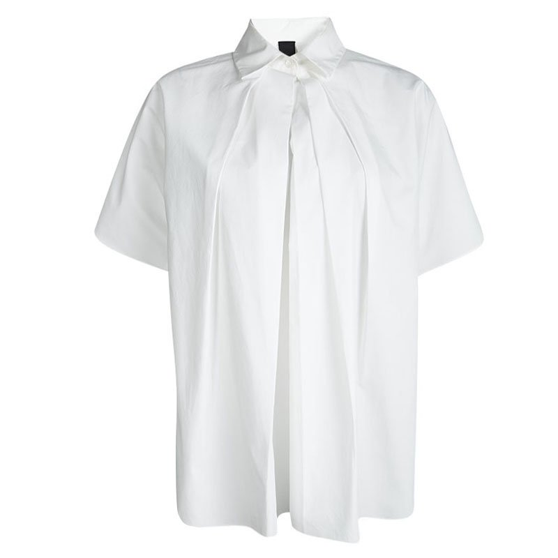 Vera Wang White Cotton Quilling Embroidery Detail Oversized Blouse XS