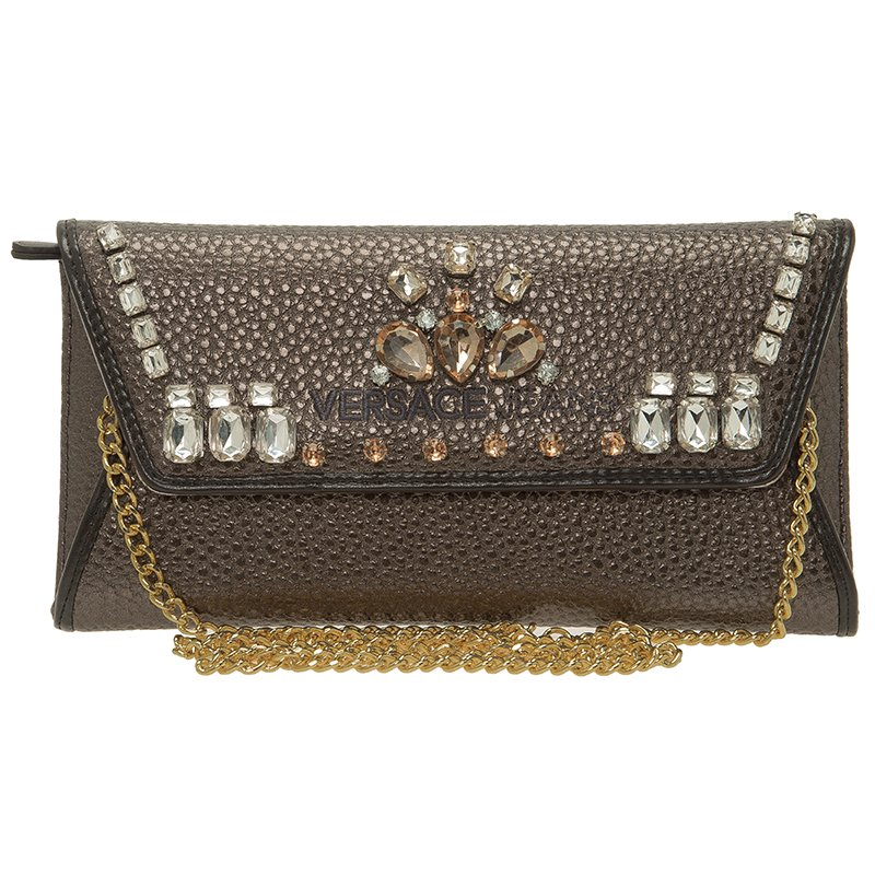 89bb3a5a60bb4 Buy Versace Jeans Metallic Gray Pebbled Leather Embellish Crystal ...