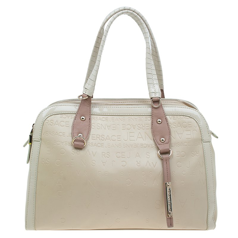 ... Versace Jeans Beige Embossed Leather Logo Tote. nextprev. prevnext e92f26794d